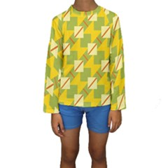 Squares and stripes  Kid s Long Sleeve Swimwear