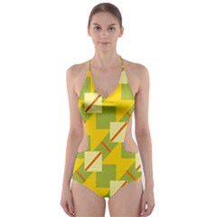 Squares And Stripes Cut Out One Piece Swimsuit