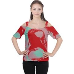 Red pink green texture Women s Cutout Shoulder Tee