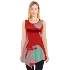 Red pink green texture Sleeveless Tunic
