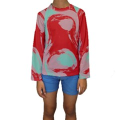 Red pink green texture  Kid s Long Sleeve Swimwear