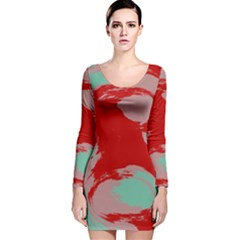 Red pink green texture Long Sleeve Velvet Bodycon Dress