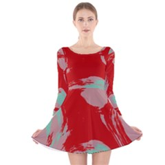 Red Pink Green Texture Long Sleeve Velvet Skater Dress