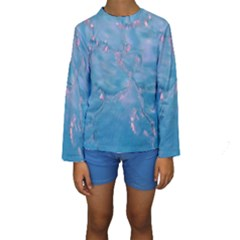 Abstract Waters with hints of Pink Kid s Long Sleeve Swimwear