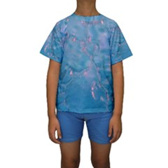 Abstract Waters with hints of Pink Kid s Short Sleeve Swimwear