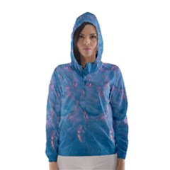 Abstract Waters with hints of Pink Hooded Wind Breaker (Women)