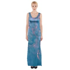 Abstract Waters with hints of Pink Maxi Thigh Split Dress