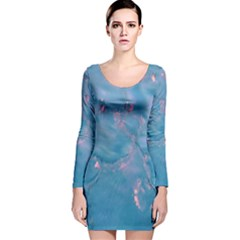 Abstract Waters with hints of Pink Long Sleeve Velvet Bodycon Dress