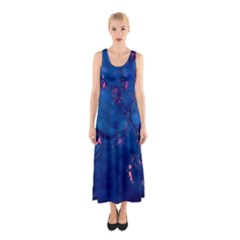 Dark Blue Waters with hints of pink Full Print Maxi Dress