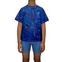 Dark Blue Waters with hints of pink Kid s Short Sleeve Swimwear