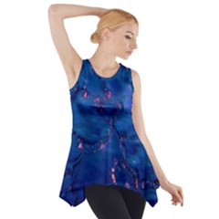 Dark Blue Waters With Hints Of Pink Side Drop Tank Tunic