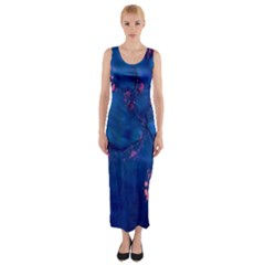 Dark Blue Waters with hints of pink Fitted Maxi Dress