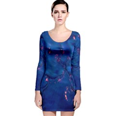 Dark Blue Waters with hints of pink Long Sleeve Velvet Bodycon Dress