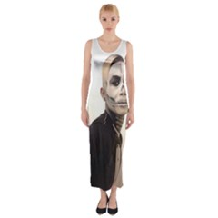 Halloween Skull And Tux  Fitted Maxi Dress