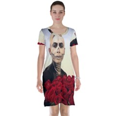 Halloween Skull Tux And Roses  Short Sleeve Nightdress