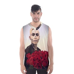 Halloween Skull Tux And Roses  Men s Basketball Tank Top