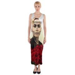 Halloween Skull Tux And Roses  Fitted Maxi Dress