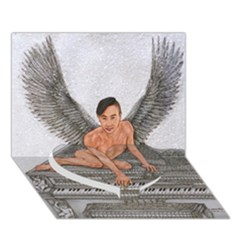 Angel And The Piano Drawing Heart Bottom 3d Greeting Card (7x5)