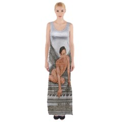 Angel And The Piano Drawing Maxi Thigh Split Dress