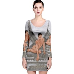 Angel And The Piano Drawing Long Sleeve Velvet Bodycon Dress