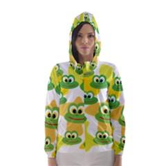 Cute Frog Family Whimsical Hooded Wind Breaker (Women)