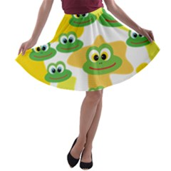 Cute Frog Family Whimsical A-line Skater Skirt