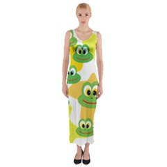 Cute Frog Family Whimsical Fitted Maxi Dress