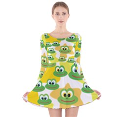 Cute Frog Family Whimsical Long Sleeve Velvet Skater Dress
