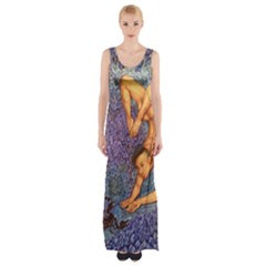 Zodiac Signs Scorpio Drawing Maxi Thigh Split Dress