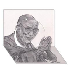 Dalai Lama Tenzin Gaytso Pencil Drawing Circle 3d Greeting Card (7x5)