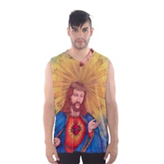 Scared Heart Of Jesus Christ Drawing Men s Basketball Tank Top