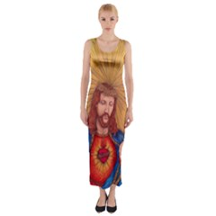 Scared Heart Of Jesus Christ Drawing Fitted Maxi Dress