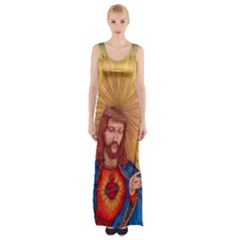 Scared Heart Of Jesus Christ Drawing Maxi Thigh Split Dress