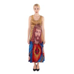 Sacred Heart Of Jesus Christ Drawing Full Print Maxi Dress