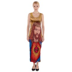 Sacred Heart Of Jesus Christ Drawing Fitted Maxi Dress