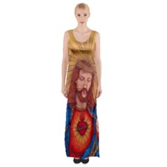Sacred Heart Of Jesus Christ Drawing Maxi Thigh Split Dress