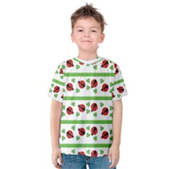 Cute Whimsical Ladybugs And Shamrocks Double Luck Irish Kid s Cotton Tee