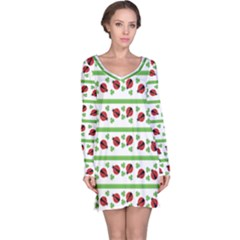 Cute Whimsical Ladybugs And Shamrocks Double Luck Irish Long Sleeve Nightdress