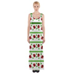 Cute Whimsical Ladybugs And Shamrocks Double Luck Irish Maxi Thigh Split Dress