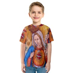 Immaculate Heart Of Virgin Mary Drawing Kid s Sport Mesh Tee