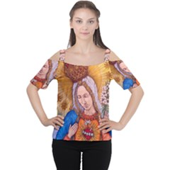 Immaculate Heart Of Virgin Mary Drawing Women s Cutout Shoulder Tee