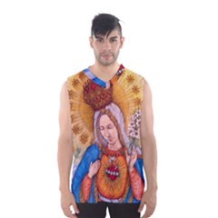 Immaculate Heart Of Virgin Mary Drawing Men s Basketball Tank Top