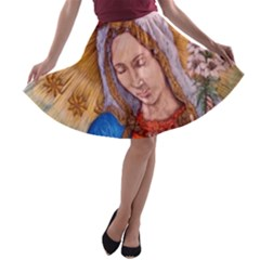 Immaculate Heart Of Virgin Mary Drawing A-line Skater Skirt