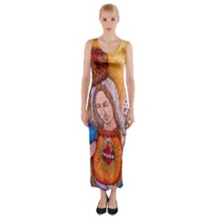 Immaculate Heart Of Virgin Mary Drawing Fitted Maxi Dress