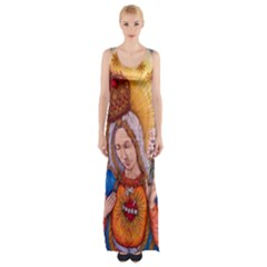 Immaculate Heart Of Virgin Mary Drawing Maxi Thigh Split Dress