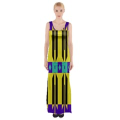 Rhombus and other shapes pattern Maxi Thigh Split Dress