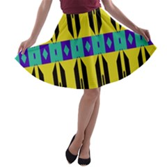 Rhombus And Other Shapes Pattern A Line Skater Skirt