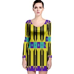 Rhombus And Other Shapes Pattern Long Sleeve Velvet Bodycon Dress
