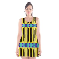 Rhombus And Other Shapes Pattern Scoop Neck Skater Dress