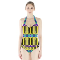 Rhombus And Other Shapes Pattern Women s Halter One Piece Swimsuit